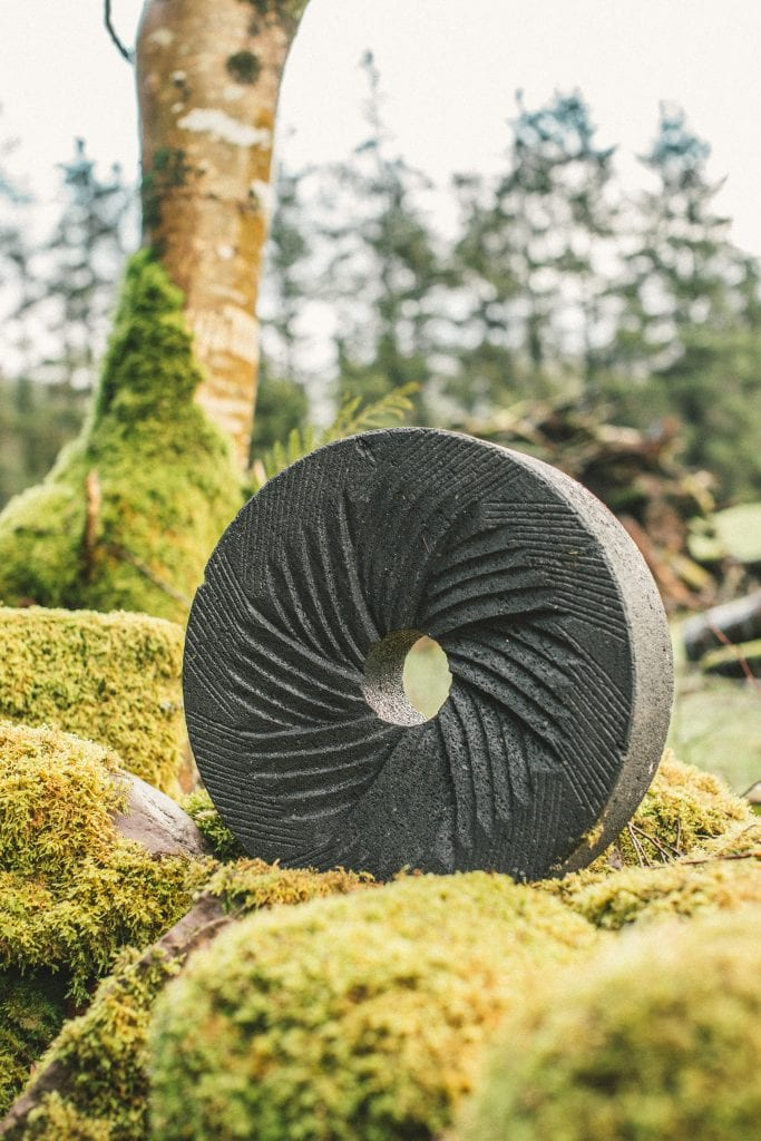 Volcanic stone grinding wheel out in open